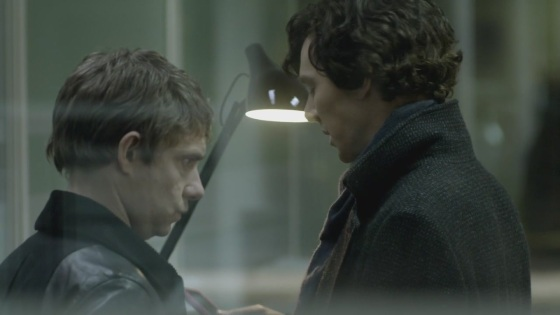 Cumberbatch is Sherlock on the right. On the left is Watson, played by Martin Freeman. They're the two main characters if you count the dragon it still seems like we're never gonna see.